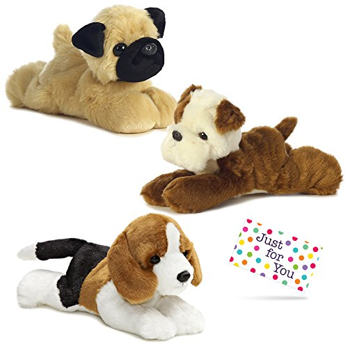 Puppy Dog Plush Bulldog, Beagle, and Pug Mini Flopsie Set with Drawstring Backpack and Gift Tag by J4U Gifts (Aurora Plush Backpack)