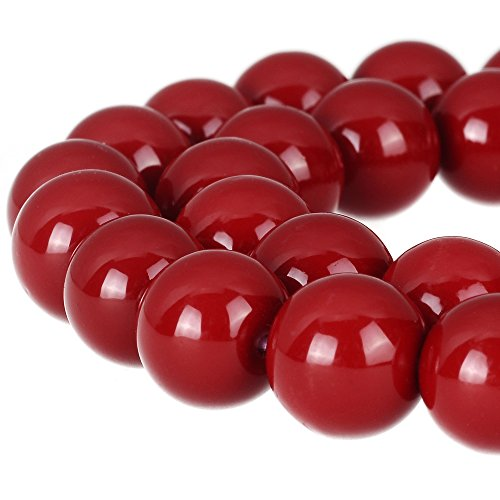 (RUBYCA Round Opaque Painted Druk Czech Glass Beads Bulk Jewelry Making Supplies Strand (Red,)