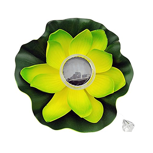 SHZONS Solar Lotus Light, LED Outdoor Floating Waterproof Pond Night Light Lantern Garden house Lights Wishing Light for Pond Pool Party 123 Lantern Light