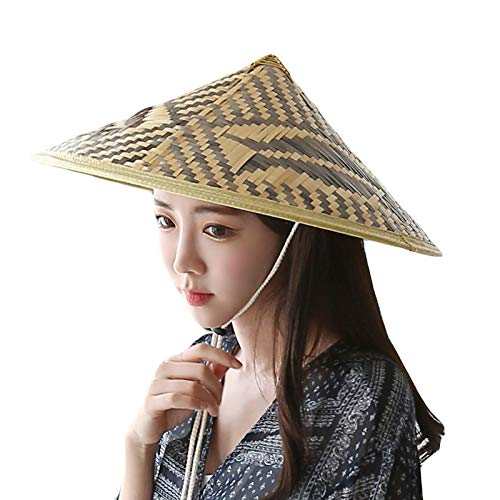 WITHMOONS Chinese Oriental Bamboo Straw Cone Garden Fishing Hat QZ90043 (Olive)