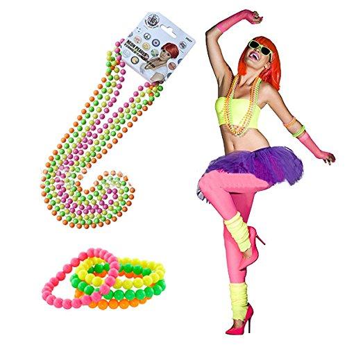 8 Pcs Neon Beaded Bracelets and Necklaces Set for Women's 80s Party
