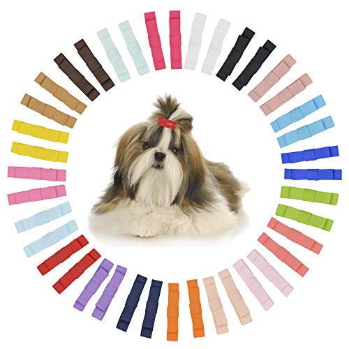 - AllinYCC Clip Bows for Small Dogs Puppies Poodles Ears Hair Grooming- 40 Bulk Pack