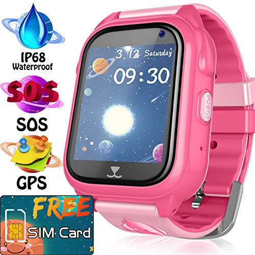 Kids GPS Tracker Watch - [SIM CARD Set] IP68 Waterproof Kids Smart Watches Phone for Boy Girl, SOS Anti- Lost Two Way Call Camera, Child Wrist Smartwatch Learning Toy Game Gift for Holiday Christmas
