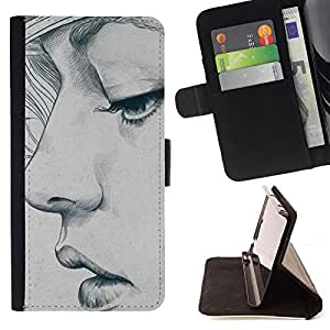 BullDog Case - FOR/Samsung Galaxy S5 Mini, SM-G800 / - / portrait woman art sketch depression /- Monedero de cuero de la PU Llevar cubierta de la caja con el ID Credit Card Slots Flip funda de cuer