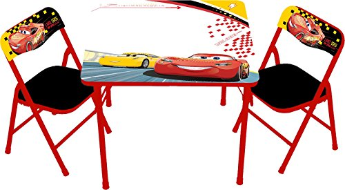 - Cars Disney 3 Racers Edge Erasable Activity Table Set with 3 Dry Erase Markers Play Set with Two Chairs
