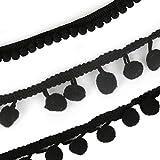 Yalulu 30 Yards Mini Pom Pom Pompom Trim Ball Fringe Ribbon DIY Sewing Accessory Lace Tassel Trim for Apparel Pillow Curtains Home Decoration (Black)