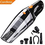 MATCC Handheld Vacuum Cordless Hand Vacuum Cleaner Cordless Rechargeable Wet Dry Use Hand Held Cordless Vacuum Lithium 12.6V 5500PA Strong Cyclonic Suction Stainless Steel HEPA Double Filtration