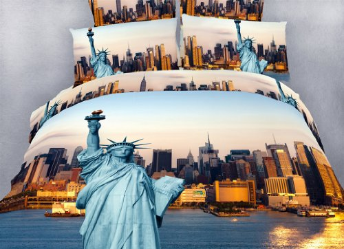 Statue of Liberty - NYC Themed - 4 Pc. Extra Long Twin Size Duvet Cover Bedding Set (1 Duvet Cover, 1 Fitted Sheet, 1 Sham, 1 Pillow Case) - Includes a Gift Box and Gift Bag - SAVE BIG ON BUNDLING!