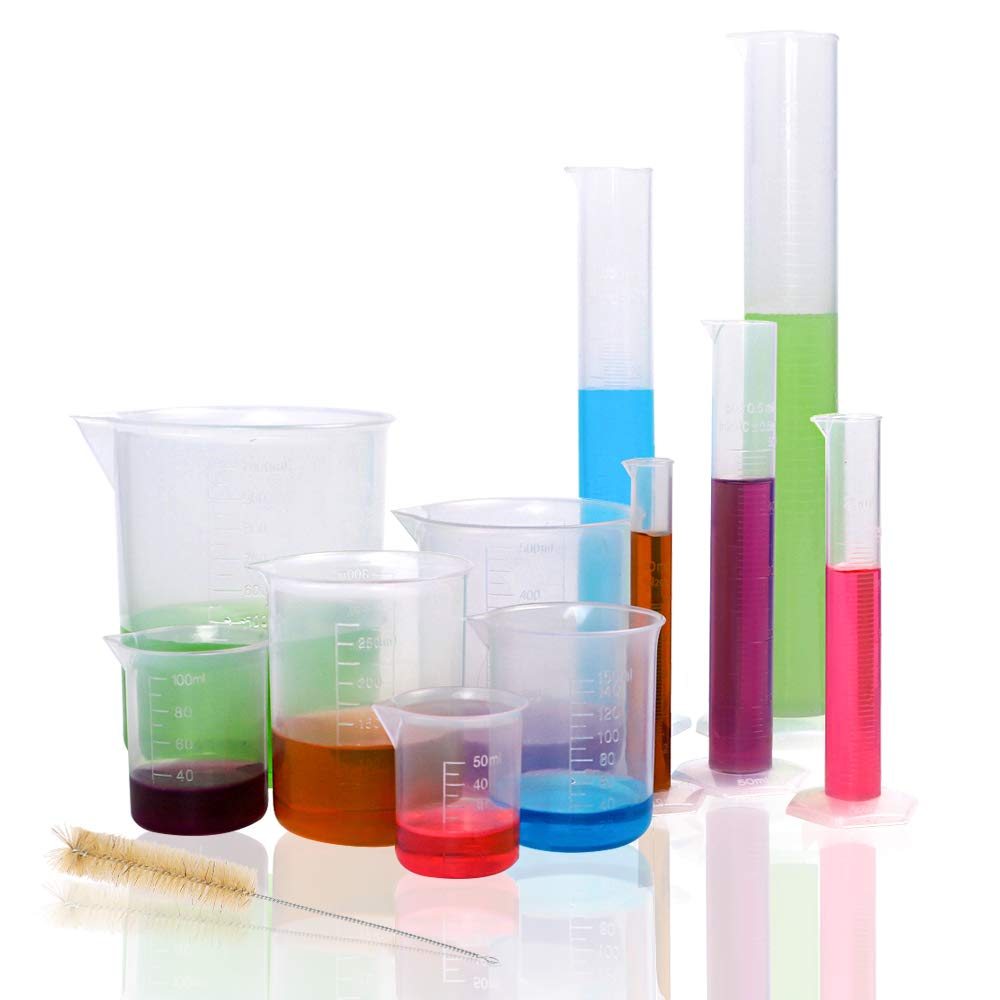 DEPEPE 5pcs Clear Plastic Graduated Cylinders with 6pcs Plastic Beakers and 1 Test Tube Brushes