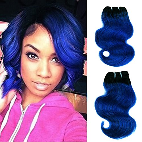 Brazilian Body wave ombre human hair 4 bundles Weft Remy Human Virgin Hair Extension (1b/blue Natural Black to Blue) by Yaki Beauty