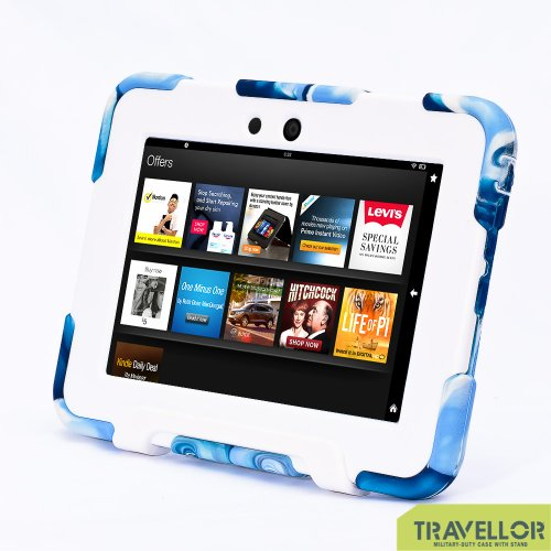 """Kindle Fire HD 7"""" Cover Case New Hot Item High Quality Slim Fit Silicone Plastic Dual Protective Back Cover Standing Case Kid Proof Case for Amazon Kindle Fire HD 7 Inch(will Only Fit Kindle Fire HD 7"""")-multiple Color Options (Camo Blue/White)"""