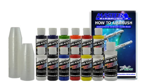 12 Createx Colors Airbrush Paint Set Basic Starter Kit - now includes (FREE) pack of 100 - 1 ounce paint mixing cups & Our FREE How-To Airbrush Book to help get you started, Published Exclusively by TCP Global.