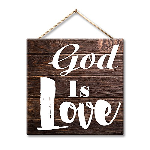 Hermosaa God Is Love Inspirational Saying Home Decor 12x12 Inches Wood Plank Design Hanging Sign