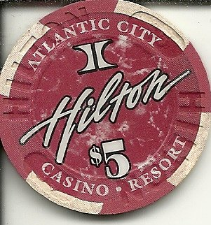 $5 hilton rare obsolete casino chip atlantic city new ()