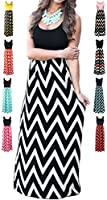 HanDanGe Women's Summer Chevron Striped Print Dress Tank Long Maxi Dresses Women