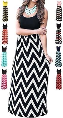 LIYOHON Womens Summer Striped Print Loose Maxi Dress Contrast Sleeveless Tank Top Floral Print Long Maxi Dresses for Women