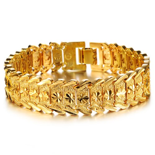 Opk Jewelry Fashion 18k Yellow Gold Plated Men's Link Bracelet Carving Wristband,0.59