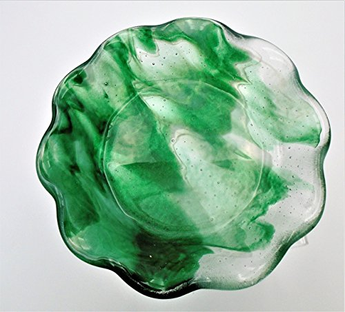 Decorative 5.5 in. Green and White Ruffled Candy Trinket Bowl Handcrafted Fused (Fused Glass Bowl)