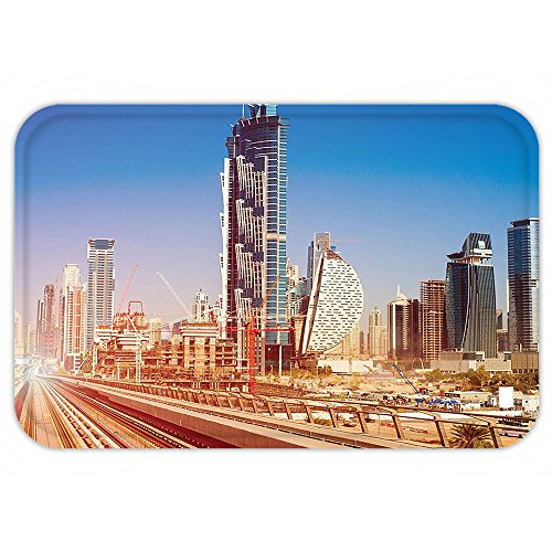 Kisscase Custom Door MatUrban Modern Subway Line in Dubai TrackSkyscraperFuturistic View Commercial Light Brown Blue White