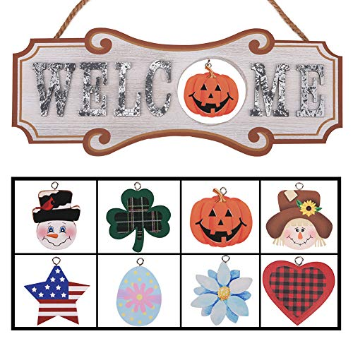Classroom Door Halloween Decorations - YEASL Interchangeable Seasonal Welcome Sign -
