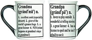 Tumbleweed - Grandma Grandpa Mugs Set - Two Large 18 Ounce Ceramic Coffee Mugs - Grandparent Gifts