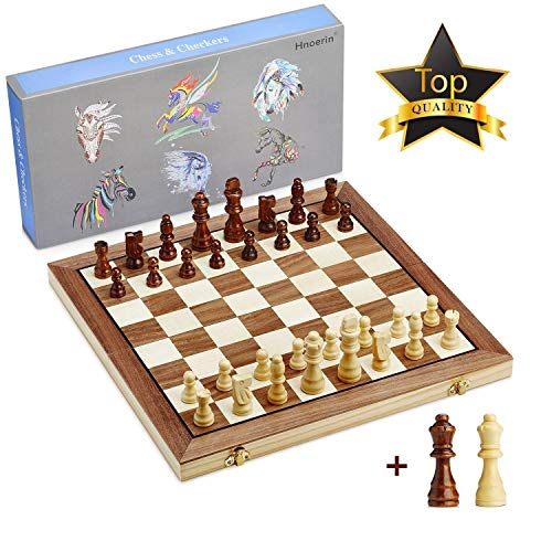 (15 Inches Wooden Chess Set-2 Extra Queens-Handmade Portable Travel Chess Board Game Sets Checkers Game Board-Large Folding Chess and Checkers Set-Interior Storage for Pieces)