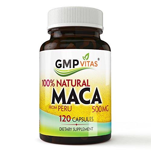 GMP Vitas® Premium Naturelles du Pérou bio capsules de racine de maca pour Augmenter la Libido, Améliore la Vigueur, Améliore l'Endurance 500mg, Aucun Effet secondaire de 120 Gélules. Expédition rapide (1)