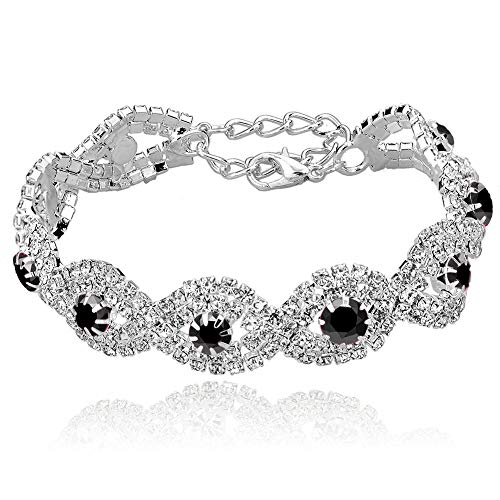 Long Way Womens Silver Plated Rhinestone Bracelets (Black)