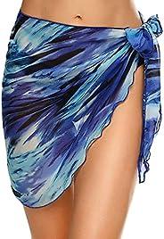 Ekouaer Womens Short Sarong Chiffon Bathing Suit Coverups Soild/Printed Swimwear Beach Wrap S-3XL