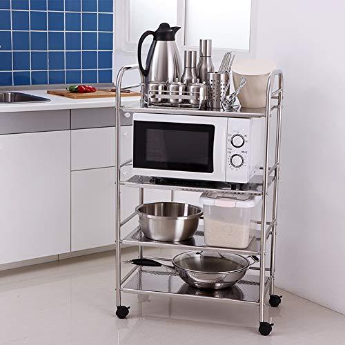 Shelf Storage Racks Cupboard Organizers Kitchen Landing Stainless Steel Four Floors Microwave Oven Rack It Can Move Wheeled Storage Rack 6034100.5cm ZHAOYONGLI by ZHAOYONGLI-shounajia (Image #1)