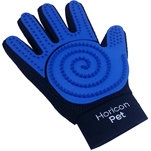 Horicon Pet 3 in 1 Dog Grooming Gloves by Five Finger Pet Hair Remover Mitts For Dogs, Cats, Horses | One Pair: Left & Right Hands | Gentle Massaging Curry Brush Design for Long or Short Fur by Horicon Pet (Image #5)