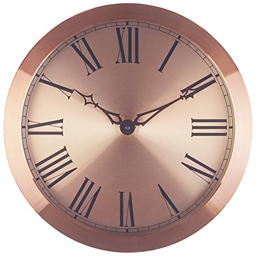 Bernhard Products 14-Inch Large Wall Clock with Roman Numerals - Rose Gold