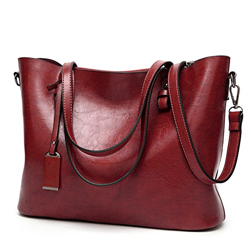 Obosoyo Women Shoulder Tote MessengerBag Lady Satchel Purse Top Handle Hobo Handbags Wine red