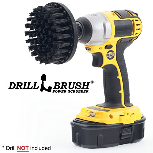 4 Inch Diameter Ultra Stiff Nylon Scrub Brush Used for Heavy Duty Brick and Stone Cleaning with quick change shaft by Drillbrush by Drillbrush