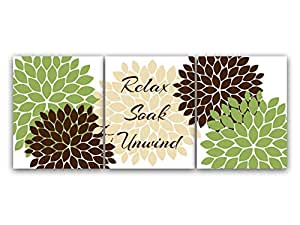 Green and brown bathroom wall art relax soak for Green and brown bathroom decor
