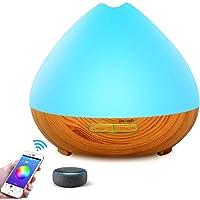 YOMYM - 400ml Wood Grain Ultrasonic Aromatherapy Diffuser & Humidifier - LED & Timer Settings - 7 Color Light…
