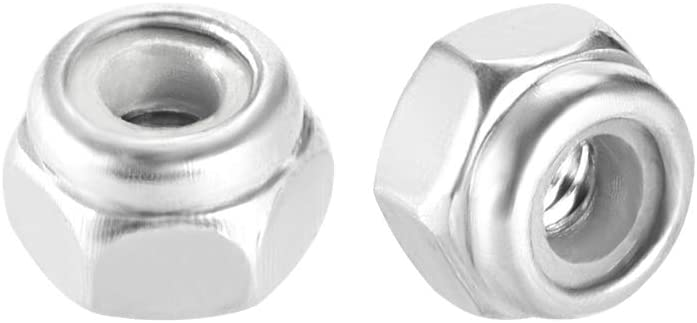 uxcell M5 x 0.8mm Nylon Insert Hex Lock Nuts Pack of 100 Carbon Steel White Zinc Plated