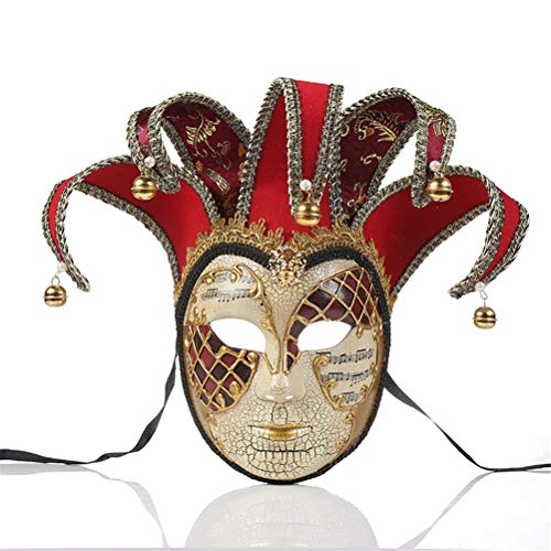 Xinjiahe Masks,Handpainted Mask, Jester Costume for Carnival, Masquerade Fancy Dress Accessories,Red]()