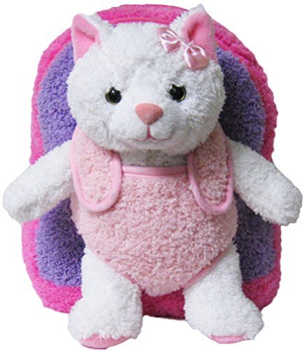 Pink Purple Kitty Kids Removable Plush Animal Backpack
