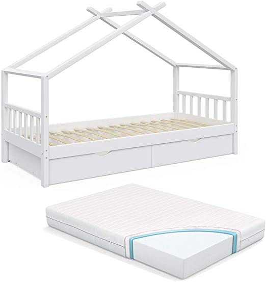 Natur mit Matratze VitaliSpa Design Kinderbett 140x70 Babybett Jugendbett mit Schublade Lattenrost