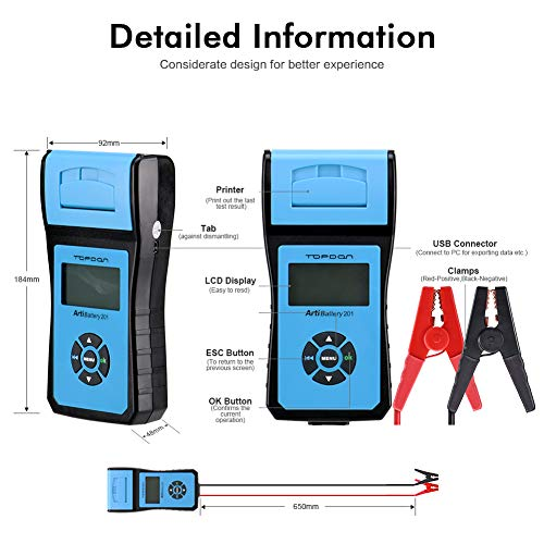 Battery Tester TOPDON AB201 Battery Analyzer 12V/24V 100-2000 CCA with Cranking/Charging/Battery Tests, Data Printing/Export/Review Functions for DIYers and Garages Battery Load Tester –Black and Blue by TT TOPDON (Image #1)