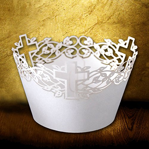 120 Pcs Laser Cut Cross Cupcake Wrapper for Wedding Birthday Party Cake Decoration