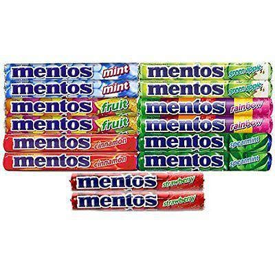 Mentos ,(2 Of Each Flavor) The Chewy Mint Sampler/Bundle - Mint, Cinnamon, Strawberry, Spearmint, Green Apple, Fruit and