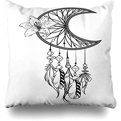 (Throw Pillow Cover Circuit Amulet Monochrome Dream Catcher Ornate Ethnic Feathers Aztec Beads Flower Nature American Home Decor Pillowcase Square 18 x 18 Inch Zippered Cushion Case)
