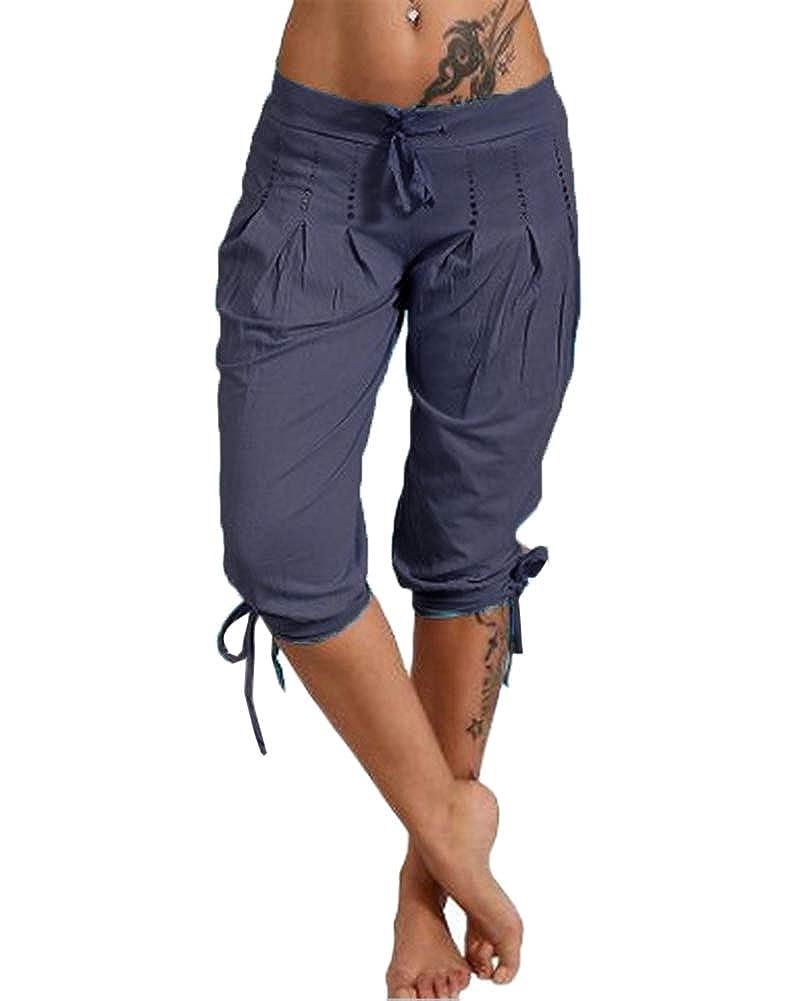 Guiran Mujer Pantalón Harem 3/4 Pantalones Capri Cortos ...