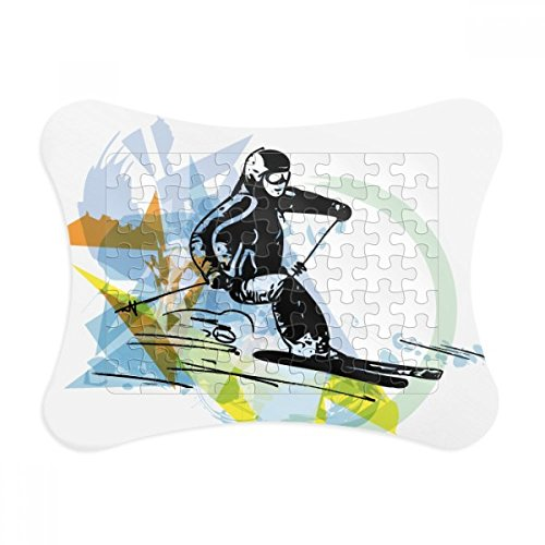 Sport Winter Athletes Freestyle Skiing Watercolor Paper Card Puzzle Frame Jigsaw Game Home Decoration Gift