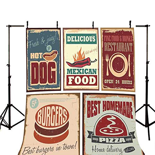 1950s Decor Stylish Backdrop,Nostalgic Tin Signs and Retro Mexican Food Prints Aged Advirtising Logo Style Artistic Design for Photography,118