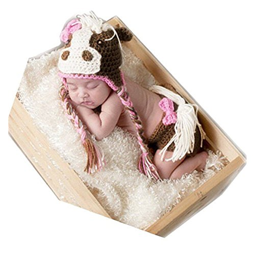 Newborn Horse Costume (Newborn Baby Photography Prop Boy Girl Photo Shoot Outfits Crochet Knit Clothes Lovely Animal Horse Hat Pants)