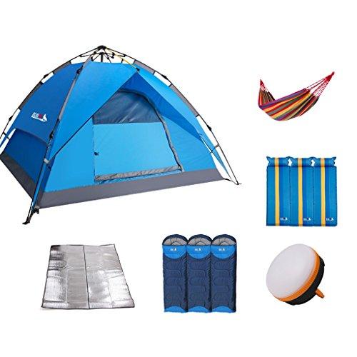 アラブ人組立ローマ人シュウクラブ@ テントアウトドア3-4人自動スピードオープンダブルレイヤーシェード防水フィールドキャンプテントパッケージ