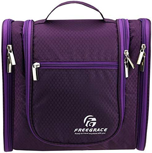 Hanging Toiletry Bag By Freegrace - Premium Large Travel Essentials Organizer - Durable Metal Hook - For Men & Women - Perfect For Accessories, Cosmetics, Personal Items, Shampoo, Body Wash (Purple)